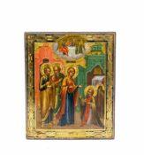 Ikone 'Erscheinung der Gottesmutter' Russland, 19. Jh., Tempera auf Holz, 26,6 cm x 22,1 cm, minimal