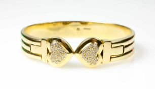 Armspange 750 Gelbgold, 50 Brillanten, gesamt ca. 0,50 ct, vvs-vs, G-I, 5,8 cm x 5 cm, Gewicht ca.