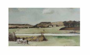 Carl Altena (1894 Dortmund - 1971 Mülheim an der Ruhr) Niederrheinische Landschaft mit Bauern und