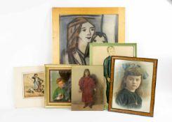 Verschiedene Künstler (20. Jh.) 8-tlg. Konvolut Kinder- und Familiendarstellungen, Öl, Pastell,
