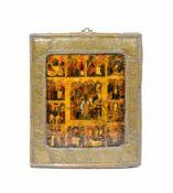 Festtagsikone mit Oklad Russland, 19. Jh., Tempera auf Holz, 30,4 cm x 26,3 cm, parteill beschädigt