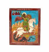 Paar Ikonen 'Eweiterte Deesis' und 'Heiliger Georg' Russland, Kopien des 20. Jh., Öl auf Leinwand
