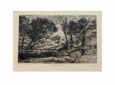 Camille Jean-Baptiste Corot (1796 Paris - 1875 ebenda) Souvenir de Toscane, Radierung auf Papier, um
