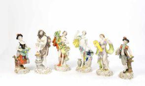 Jahresfiguren 6-tlg., Volkstedter Porzellanmanufaktur, 1992-1997, Porzellan, weiß, farbig und gold