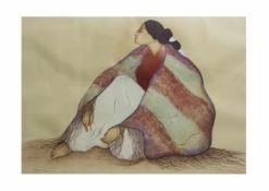 Rudolph Carl Gorman (1931 Chinle - 2005 Albuquerque) Woman from window rock, Lithografie auf Papier,