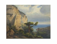 Albert Bierstadt (1830 Solingen - 1902 New York) Kalifornische Küstenlandschaft, Aquarell auf