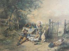 Johan Mari Ten Kate (1831 Den Haag - 1910 Driebergen) Kinder, die von Gänsen überrascht werden,