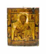 Ikone mit Heiligem Nikolaus Russland, 19. Jh., Tempera auf Holz, 30,5 cm x 25 cm, partiell