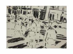 Paul Schwer (1951 Hornberg/Schwarzwald) (F) Paar Arbeiten, Abstrakte Kohlezeichnung und
