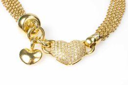 Collier mit Herzanhänger 750 Weißgold, ca. 92 Achtkant-Diamanten, gesamt ca. 1,00 ct, vvs-vs, G/H,
