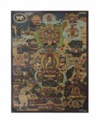 Thangka Tibet, 19. Jh., Gouache auf feinem Leinen, zentraler Buddha 'Siddhartha Gautama', 75 cm x 54