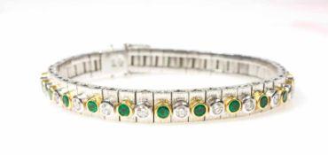 Tennisarmband Hans Cullmann, Idar-Oberstein, 750 Gelb- und Weißgold, 23 Brillanten, gesamt ca. 1,