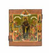 Ikone 'Gottesmutter aller Betrübten Freude' Nordrussland, 1850 - 1890, Tempera auf Holz, 35,5 cm x