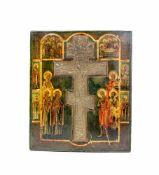 Kreuzikone 'Staurothek'Russland, 19. Jh., Tempera auf Holz, zentrales Bronzekreuz, 31 cm x 26 cm,