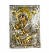 Ikone 'Gottesmutter, lindere meinen Kummer'Russland, um 1800, Tempera auf Holz, mit Silberoklad,
