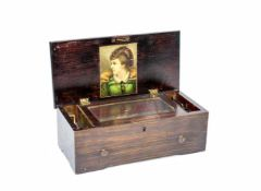 Walzen-SpieluhrUm 1900, Holzkasten aus Nussbaum, gebeizt, Messingwalze, Stahlkamm, Höhe 12 cm,