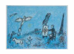 Marc Chagall (1887 Witebsk - 1985 Paul de Vence) (F)Paar Arbeiten, 'Sonne mit rotem Pferd' und '