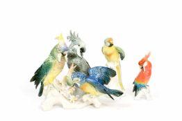 Konvolut Tierfiguren4-tlg., Papagei und Kakadus, Ens, Thüringen, 20. Jh., Porzellan, weiß, farbig