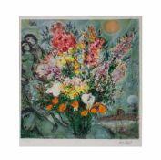 Marc Chagall (1887 Witebsk - 1985 Paul de Vence) (F)Bouquet de fleurs, Farblithografie auf Papier,