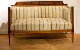 Biedermeier-Sofa1. Hälfte 19. Jh., Kirschbaum, massiv, partiell furniert, partiell ebonisiert,