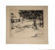 Lovis Corinth (1858 Tapiau/Ostpreußen - 1925 Zandvoort)Landschaft, Radierung auf Papier, 33,5 cm x