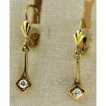 Ohrhänger 585 Gold mit Brillant, NOS Gesamtgewicht ca. 1,6 Gramm, Gesamt ca. 30 mm lang, Brillant