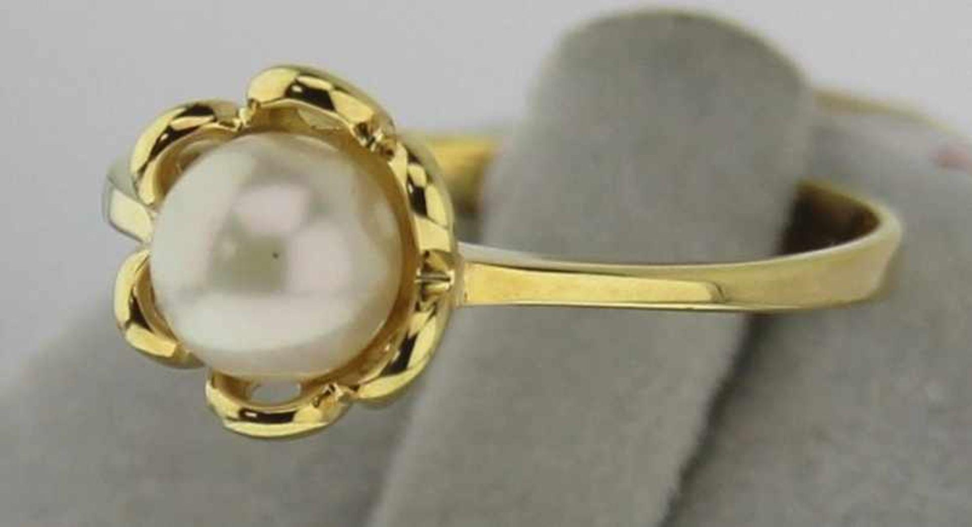 Damenring mit Zuchtperle in 333 Gold, NOS Gr. 55, Gesamtgewicht ca. 1,9 Gramm, Zuchtperle
