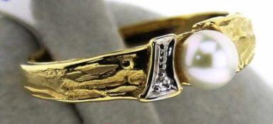 Damenring 585 mit Zuchtperle und Diamant, NOS Gr. 58, Gesamtgewicht ca. 3,5 Gramm, Zuchtperle