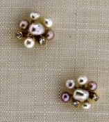 Ohrstecker 585 Gold mit Süßwasserperle und Diamant, NOS Gesamtgewicht ca. 2 Gramm, Diamant zus.