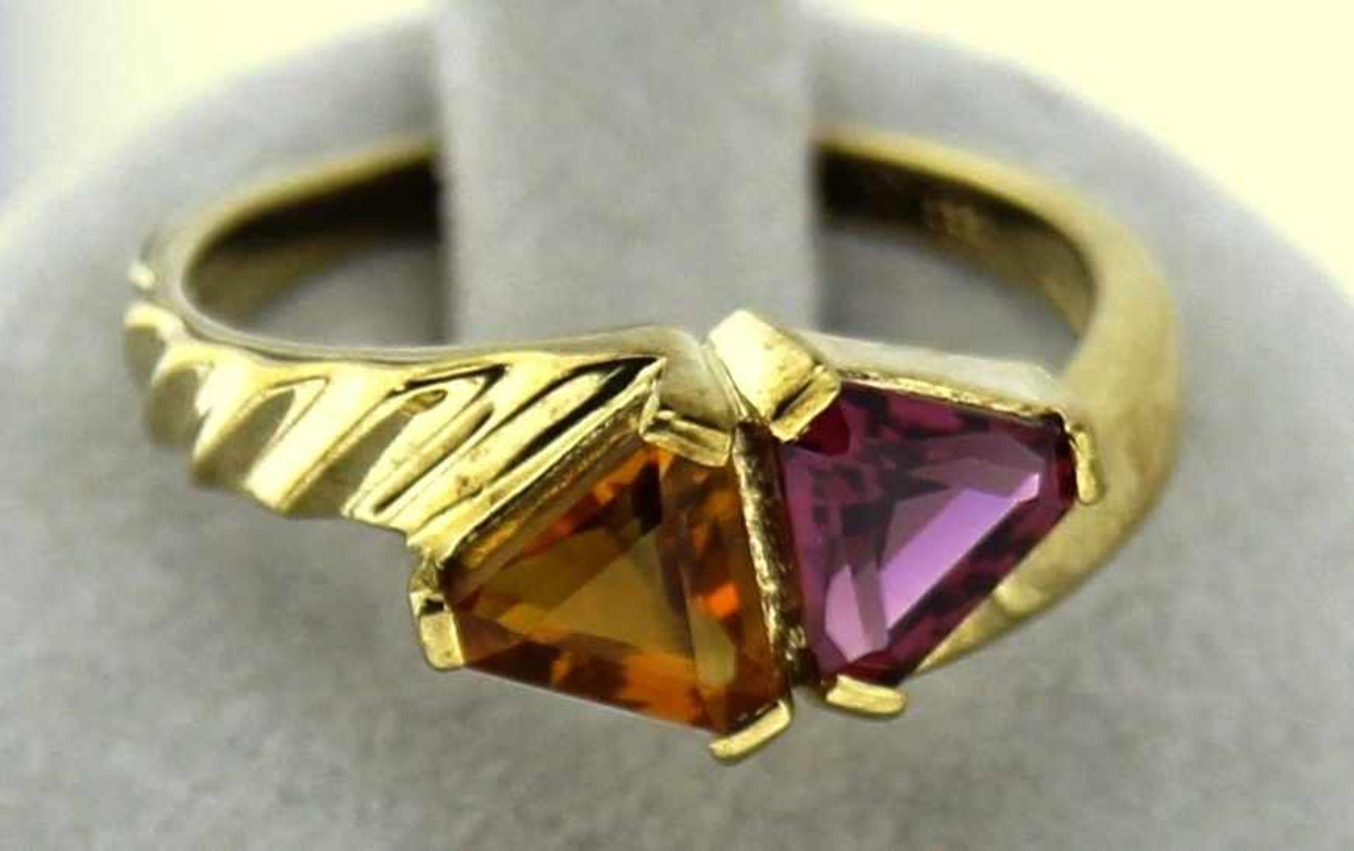 Damenring 333 Gold mit Citrin und Rhodolith, NOS Gr. 56, Gesamtgewicht ca. 3,6 Gramm, mit
