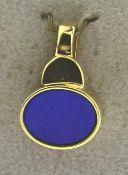 Anhänger mit Lapislazuli 585 Gold, NOS Gesamtgewicht ca. 1,8 Gramm, Gesamtgröße 15 x 10 mm, NOS