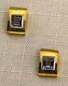 Ohrstecker 333 Gold bicolor mit Blau-Topas, NOS Gesamtgewicht ca. 2 Gramm Blau-Topas ca. 4 X 4mm,