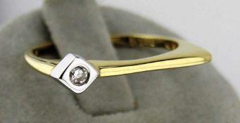Damenring Brillant bicolor 585 Gold, NOS Gr. 57, Gesamtgewicht ca. 2,3 Gramm, Brillant 0,05ct. W/Pi,