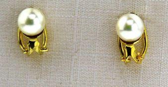 Ohrclips 333 Gold mit Zuchtperlen, NOS Gesamtgewicht ca. 2,4 Gramm, Zuchtperle Durchm. ca. 7 mm,