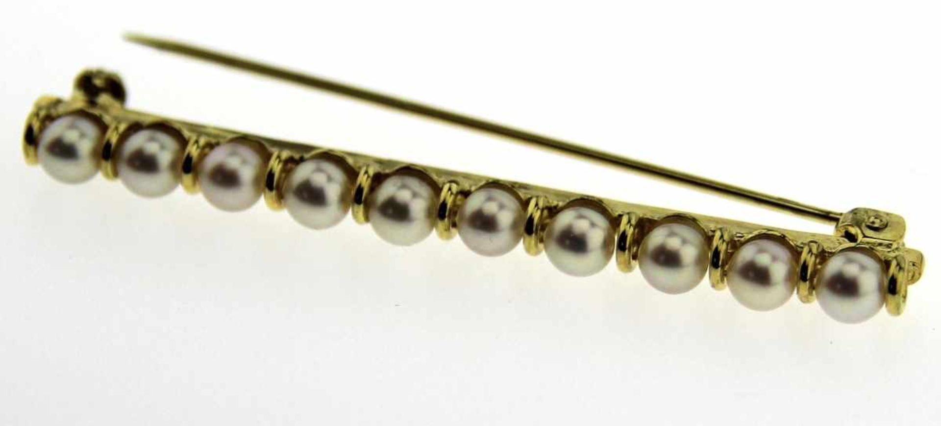 Stabnadel 333 Gold mit Zuchtperlen, NOS Gesamtgewicht ca. 4,2 Gramm, Länge 53 mm, Perlen Durchm. 4