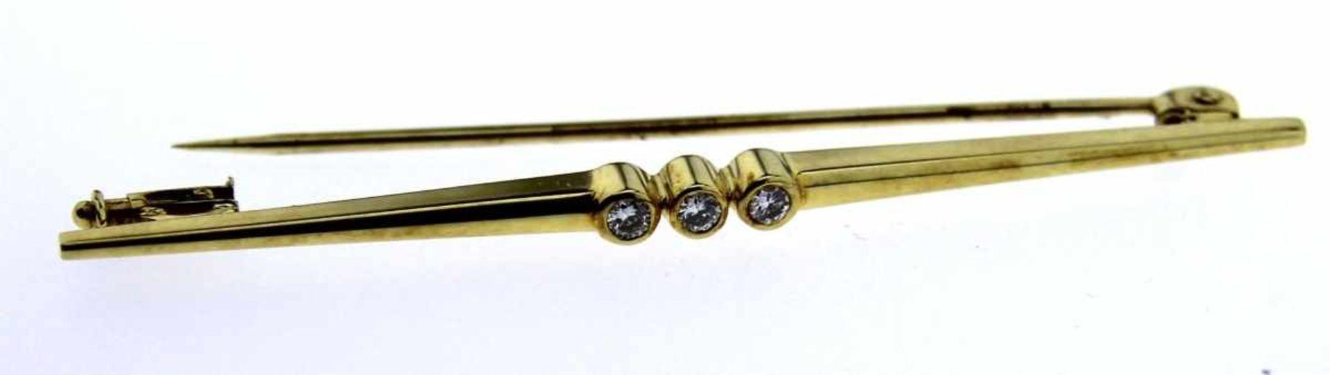 Stabnadel 585 Gold mit 3 Brillanten, NOS Gesamtgewicht ca. 2,9 Gramm, 57 mm lang, 3 Brillanten