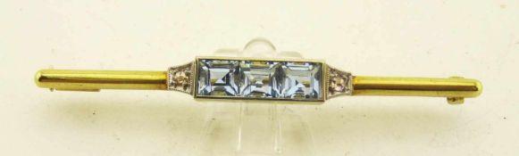 Nadel Diamantrosen Aquamarin 585 Gold ges. Länge 54mm, Gewicht ges. ca. 4,2g