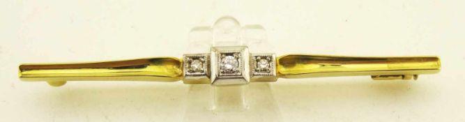 Nadel Diamantrosen und Brillant 585 Gold ges. Länge 61mm, Diamanten zus. ca. 0,10ct., Gewicht ges.