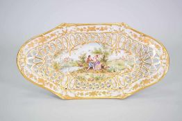 "Große Schierholz Porzellan Schale ""Watteau""Manufaktur: Schierholz, Dekor: Watteau mit Goldrand,"