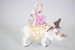 """Große Meissen Porzellan Figur """"Persischer Herrscher auf Elefant mit Mohr""""Serie Fremde Völker - 2."""