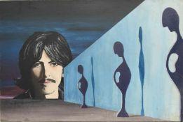"""UNBEKANNTER MALER: """"George Harrison First Part"""", Acryl auf Holzfaserplatte, datiert Ein Gemälde"""
