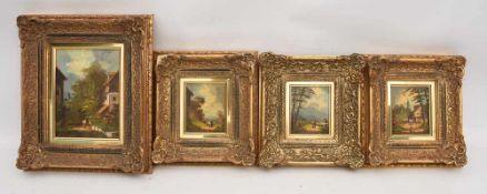 "KONVOLUT ""4 ALPENDORF-ANSICHTEN"", Öl auf Leinwand/Holz, gerahmt 3 x Öl auf Holz (25 x 25 cm) 1 x"