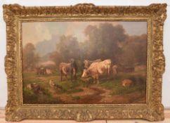 """LOUIS REINHARDT,"""" Weidende Kühe"""", Öl auf Leinwand, gerahmt und signiert Louis Reinhardt (1849-1870)."""