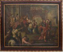 """ALTMEISTER:""""EMPFANG DURCH EINEN GEISTLICHEN IM TEMPEL"""", Öl auf Leinwand, gerahmt, 17. Jahrhundert"""