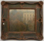 """KÜPPER: """"Villa im Park"""", Öl auf Holzfaserplatte, gerahmt und signiert, um 1895 Rechts unten signiert"""