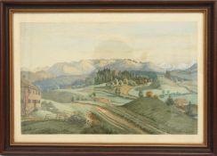 """W.VINCENTE,""""Im Berner Oberland"""", Aquarell auf Papier, hinter Glas gerahmt, signiert und datiert"""