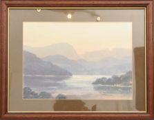 "E.GRIEG HALL"" View from South Lodge"",Aquarell/Wasserfarbe auf Papier, hinter Glas im Passepartout"