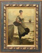 """UNBEKANNTER KÜNSTLER,""""Fischersfrau"""",Leinwand auf Holz, gerahmt, Ende 19. Jahrhundert Bildnis einer"""