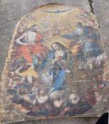 BAROCKES ALTARGEMÄLDE, Öl auf Leinwand, um 1700 Darstellung Jesus, Maria und Petrus, Maße 2,75 x 1,
