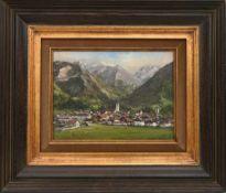 """ALBERT WESSELS:""""Oberstdorf"""", Öl auf Leinwand, gerahmt und signiert Albert Wessels (1938-2010). Links"""